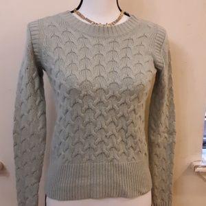 J. Crew green - gray cable angora sweater XXS